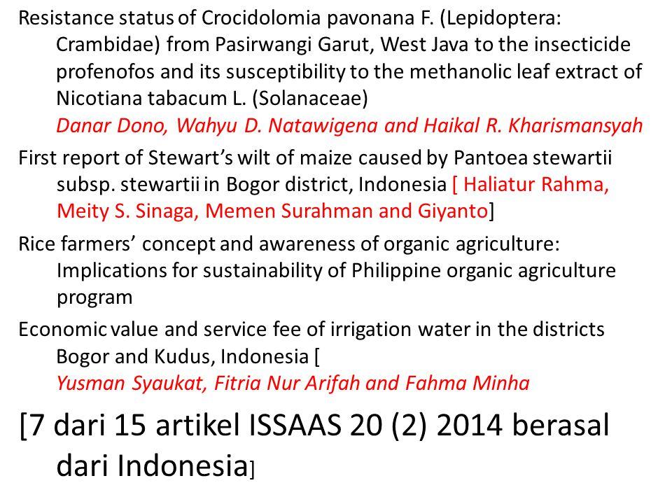 [7 dari 15 artikel ISSAAS 20 (2) 2014 berasal dari Indonesia]